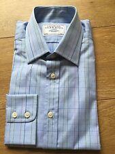 BNWT Charles Tyrwhitt Shirt Baby Blue Tattersall Check Camicia collo 15 manica a 33