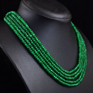 317 Cts Natural 5 Strand Green Onyx Faceted Beads Womens Necklace JK 19E376