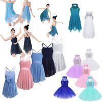 Girls Ballet Lyrical Dress Kid Latin Dance Leotard Skirt Shiny Sequins Dancewear