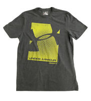 Under Armour Mens Loose Clutch Fit Heat Gear Shirt Gray Yellow Graphic M Tshirt