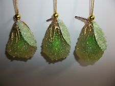 Vintage PEAR Christmas Ornaments Set Of 3 Sparkling Green