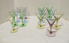 Multi Colored Cocktail Drinking Glases 7 Cordial, 7 Cocktail lot 14 LQQK!