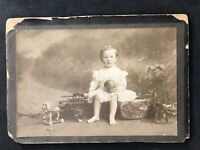 Victorian Photo: Cabinet Card: Young Boy In Dress With Toys Ball Horse Carriage