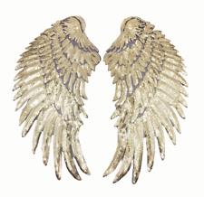 27x13cm PAILLETTEN FLÜGEL APPLIKATION BÜGELBILD GOLD WINGS PATCH ENGELSFLÜGEL