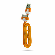 heavy duty flat noodle Apple Charger USB Lead DataCable iPhone 4S 4 3GS iPad 2/3