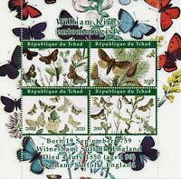 Chad Butterflies Stamps 2020 CTO William Kirby Entomologist Moths Insects 4v M/S