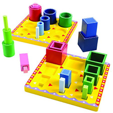 Wooden Tube Sorting Blocks for Kids to Explore Color and Size Gradation