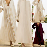 Womens Summer Pleated Loose Long Maxi Dress Kaftan Evening Cocktail Party Dress
