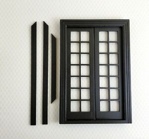Dollhouse Double French Doors with Windows BLACK 1:12 Scale Interior Exterior