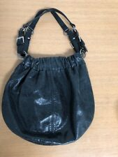 Fossil Hobo Purse Shoulder Bag Black Metallic Leather