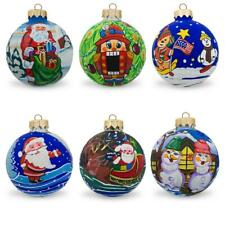 Set of 6 Snowman, Bear, Santa, Nutcracker Glass Ball Christmas Ornaments