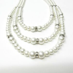 Vintage Faux Pearl 3 Strand Necklace Rhinestone Beaded Wedding Jewelry