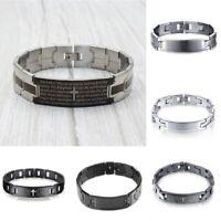 Stainless Steel Bangle Religious Cross English Spanish Prayer Men Bracelet Gift