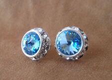 HYPOALLERGENIC Earrings Large Swarovski  Elements Aqua Crystal with Rhinestones
