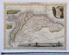 """Mapa Antiguo Vintage Color 1800s: Venezuela, Granada: Tallis reimpresión 13 X 9"""""""
