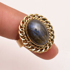 Natural Labradorite Gemstone Ring Size UK Q, Antique Brass Jewelry BRR238
