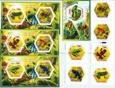 FROGS amphibians SET 6 hexagon stamps + 4 s/s Tchad 2014 MNH #tchad2014-163s