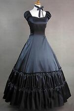 Black Satin Short Sleeves Classic Lolita Gothic Punk Cosplay Dress Custom Made