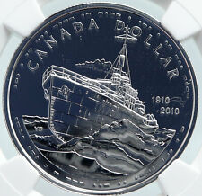 2010 CANADA Queen Elizabeth II 100th Anniv NAVY Silver $1 Coin MS DPL NGC i86002