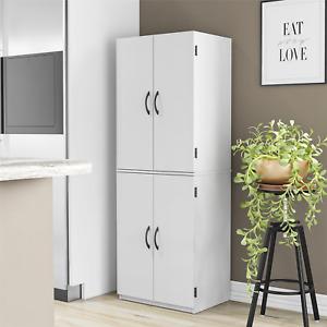 Tall Storage Cabinet Kitchen Pantry Cupboard Organizer 4 Door Furniture White
