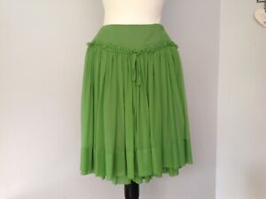 Ladies Green Silk Skirt By Pink Soda Boutique UK 6-8