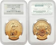 Hungary 1908KB Restrike 100 Korona Gold NGC MS-67