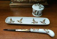House of Prill Mallard Duck Desk set - Pen Tray Letter Opener Stamp Dispenser
