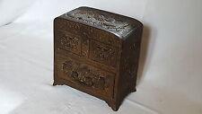 Bronzo Giapponese Vintage Art Nouveau Oriental ANTICO TAVOLO ARMADIO BOX COFANETTO