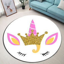 Magical Crown Unicorn Kids Floor Rug Round Non-Slip Home Bedroom Door Mat Carpet