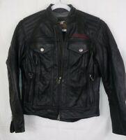 Harley Davidson Leather Jacket Black Logo Vents Womens XS