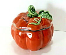 NEW Figural PUMPKIN Candy Jar Sm Soup Tureen Spice ORANGE Halloween Thanksgiving