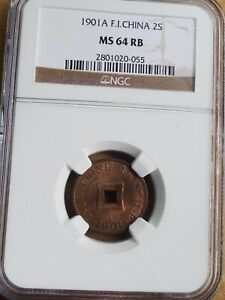 French Indo-china, 2 Sapeque 1901, NGC MS64 RB