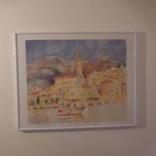Reproduction aquarelle vieille ville painting watercolor old town Menton France