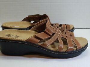 Clarks Bendables Women's Low Heel Sandals Brown Hook and Loop Size 7.5