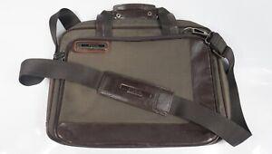 Vintage Fossil Canvas & Leather Slim Messenger Bag For Laptops Tablets iPads