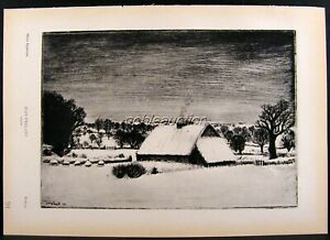 Frelant, Snow & Farm in the Fields, French Engraving Photogravure Print 1939