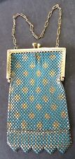 Vintage Mandalian MESH PURSE, Turquoise & Gold Diamonds Body, Gold-tone Frame