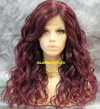 Hand Tied Monofilament Lace Front Full Wig Long Wavy Bangs Off Black Burgundy