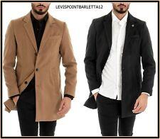 cappotto trench giacca da uomo elegante invernale lungo cammello nero slim fit