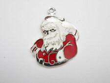 Sterling Silver Beau Enamel Santa Claus Christmas Traditional Charm #1744