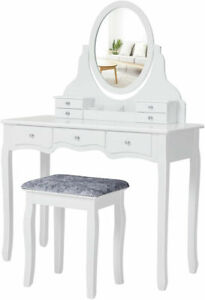 White Dressing Table Set Bedroom Makeup Desk Vanity Table Stool With 7 Drawers