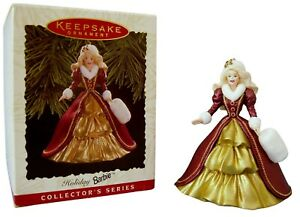 Barbie Keepsake Ornament Gold Dress Burgundy Coat Fur Trim and Muff