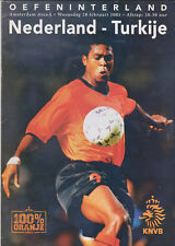 Programme / Programma Holland v Turkey 28-02-2001 friendly