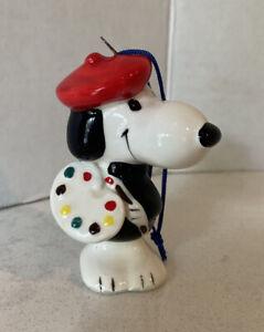 Vintage Ceramic Snoopy Artist Christmas Ornament