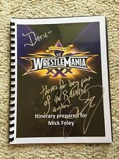 Mick Foley signed original Wrestlemania 30 itinerary WWE Cactus Jack Mankind