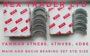 Main & Begin Bearing set Yanmar/Komatsu 4TNV86, 4D86, 4TNE86 4 Cylinder Std Size