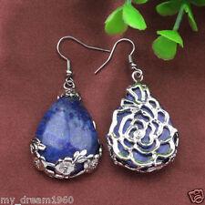 Tibet-style 925 Silver Drop Lapis Lazuli Flowers Gemstone Hook Earrings Jewelry