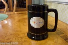 NASCAR Coffee Mug Black and Silver strips and Pewter Embossed NASCAR Emblem