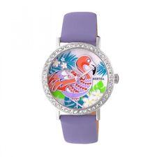 Bertha Luna Women's MOP Crystal Lavender Genuine Leather Flamingo Watch BR7701