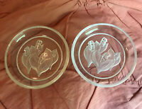 Vintage Intaglio Glass Crystal Lilies of the valley Saucers Trinket Dishes Set 2